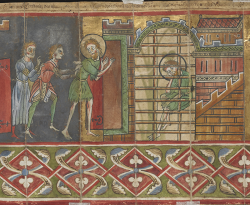 Detail of a two-part scene showing John the Baptist being pushed into prison and later sitting behind bars, London, British Library Add MS 42497, f. 1v.