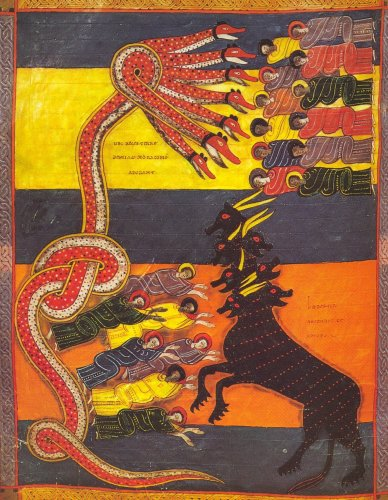 An illustration of the two beasts of the Apocalypse from Madrid, Biblioteca Nacional. Ms. Vit. 14.2, fo. 191v.