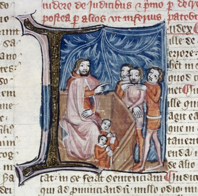 London, British Library, MS Royal 6.E.vii,  f. 345 detail, showing a fourteenth-century judge