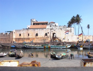 Fort Sao Jorge da Mina at Elmina, Ghana, erected by the Potuguese in 1482.