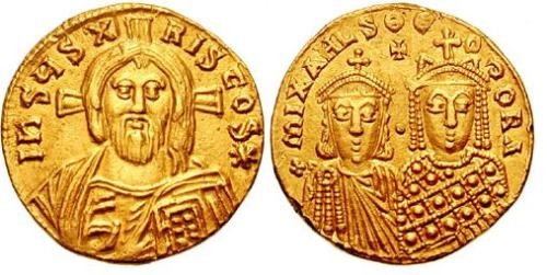 Gold solidus of Emperor Michael III and Empress Theodora struck in Constantinople between 842 and 856, sold in Classical Numismatic Group auction no. 64, lot 1330.