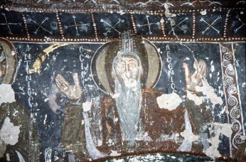 Fresco portrait of Arsenius from inside the church of St John, Güllü Dere, Cappadocia
