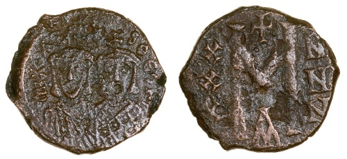 Bronze forty-nummi coin of Michael I or II and their respective son, struck at Constantinople in either 811-813 or 821-829, Barber Institute of Fine Arts B4629