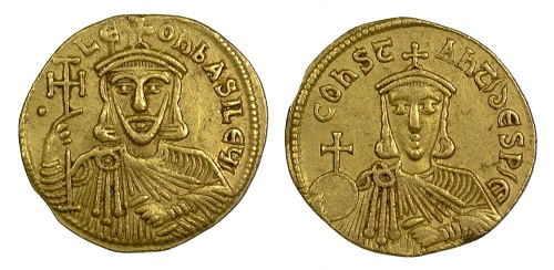 Gold solidus of Emperor Leo V and his son Constantine struck at Constantinople between 813 and 820, Barber Institute of Fine Arts B4633