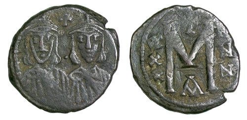 A bronze 40-nummi coin of Emperors Nikephoros I and Stavrakios struck at Constantinople between 803 and 811, Barber Institute of Fine Arts B4643