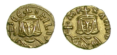Gold tremissis of Emperors Michael II and Theophilos struck in Syracuse between 821 and 829, Barber Institute of Fine Arts B4670