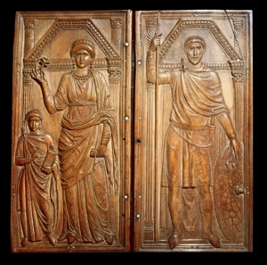 The Roman general Stilicho portrayed in the dress of a citizen with wife and child, though also with weapons, in Monza Cathedral