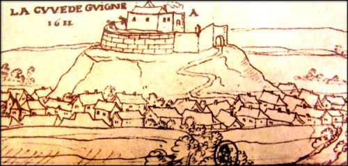 Early modern pen drawing of the Chateau de Guines