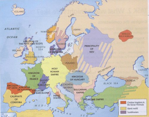 Political map of Europe circa 1000