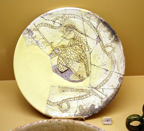 Painting of Digenes Akritis fighting the dragon on a twelfth-century dish now in the Agora Museum at Athens