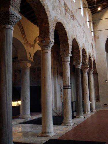 Diagonally-marbled columns at San Salvatore di Brescia