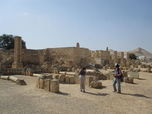 Ruins of the Umayyad desert palace at Khirbat al-Mafjar, in Palestine