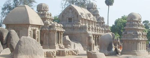 The Pancha Rathas at the shore temple site of Mahabalipuram, said to be seventh-century