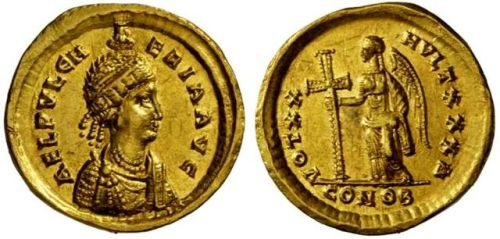 Gold solidus of Empress Ælia Pulcheria, paired with a personification of imperial Victory, struck at Constantinople between 450 and 453