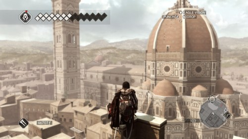 Screenshot of an attempt to climb the Duomo in Florence in Assassin's Creed