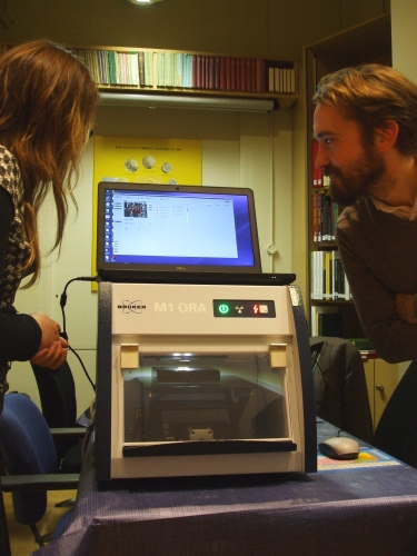 Bruker Industries M1ORA XRF analyser at work in the Coin Study Room of the Barber Institute of Fine Arts, University of Birmingham