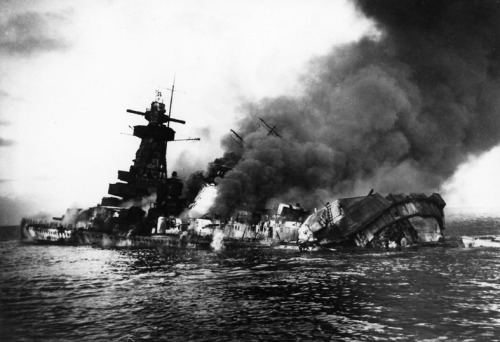 The pocket battleship Admiral Graf Spee burning off Montevideo, 17th December 1939
