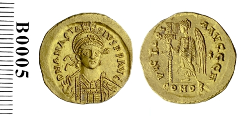 A gold solidus of Emperor Anastasius I struck at Constantinople (in the Eta <i>officina</i>) between 492 and 507, Barber Institute of Fine Arts B0005