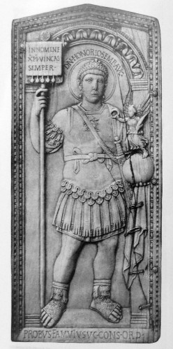 A portrait of Emperor Honorius in the consular diptych of Probus, dated to 406