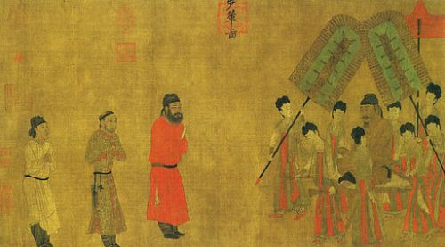 Illustration by Yen Li-Pen of Emperor Taizong granting an audience to Ludongzan the ambassador of Tibet in 641