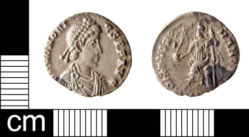 Silver siliqua of Emperor Honorius, struck probably at Milan between 383 and 402 but found near Colchester in Britain