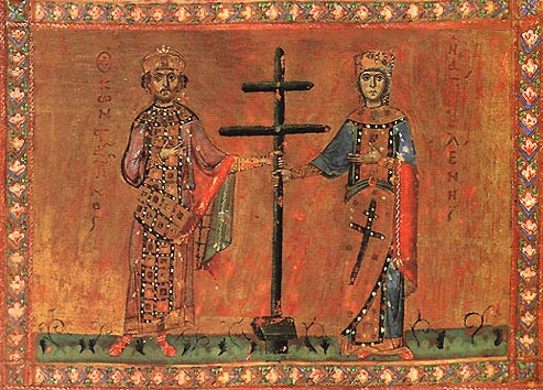 Bulgarian icon of Saints Constantine and Helena with a patriarchal cross