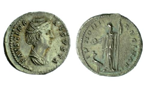 Silver denarius of Empress Faustina I struck in Rome 139-141, Barber Institute of Fine Arts R1180