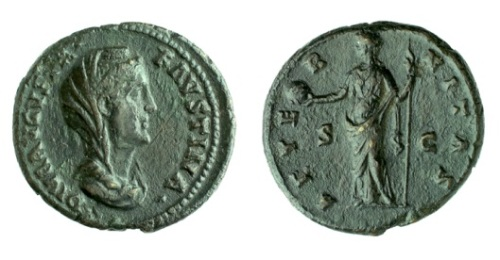 Copper-alloy as in the name of the deified Empress Faustina I struck at Rome 141-161, Barber Institute of Fine Arts R1217