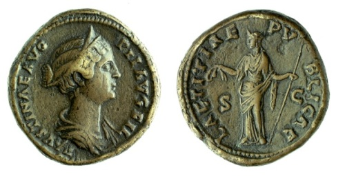 Copper-alloy sestertius of Empress Faustina II, paired with a personification of public happiness, struck at Rome 145-146, Barber Institute of Fine Arts R1220