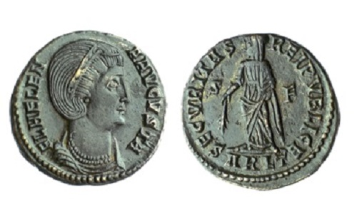 Bronze follis of Empress Helena, paired with a personification of the Security of the State, struck at Arles in 327, Barber Institute of Fine Arts R