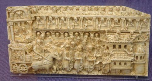Copy of an ivory plaque showing Emperor Theodosius II and Empress Pulcheria overseeing a relic translation in Constantinople, this copy in the Römisch-Germanisches Museum Mainz, the original in Trier