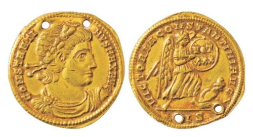 Gold solidus of Emperor Constantine I, struck at Siscia in 327-328, Classical Numismatic Group auction 2nd February 2014, lot 46