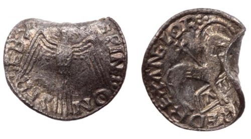 Silver Agnus Dei penny of Æthelred II struck by Sæwine at Salisbury