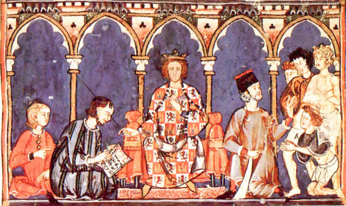 King Alfonso X of Castile-León, from a manuscript of the Estoria de Espanna