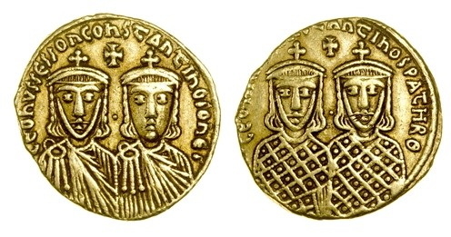 A gold solidus of Emperor Leo IV with his son Constantine V, struck at Constantinople in 776-780, Barber Institute of Fine Arts B4583