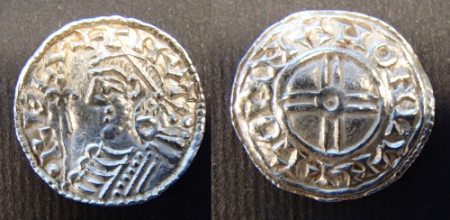 A silver penny of Cnut, struck by Godman at London, in 1025-1036 from the Lenborough hoard, Buckinghamshire, discovered late 2014