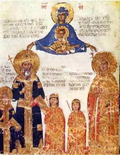 Paris, Musée du Louvre, MS 416, showing Emperor Manuel II Palaiologos and family