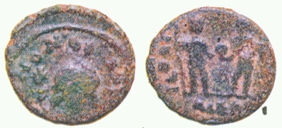 Bronze fraction probably of Constans I struck in Alexandria in 337-350, found in Karur, Tamil Nadu, R. Krishnamurthy ,Late Roman Copper Coins from South India: Karur, Madurai and Tirukkoilur (Chennai 2007), pl. XII no. 5