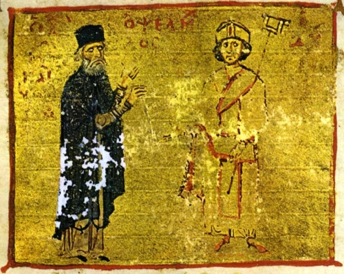 Michael Psellos, here shown with his pupil the emperor Michael VII Doukas