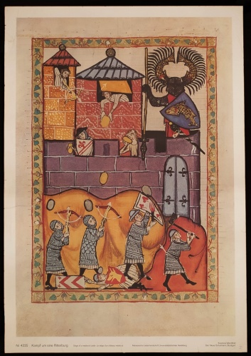 Illustration of a (small) siege from the fourteenth-century Codex Manesse
