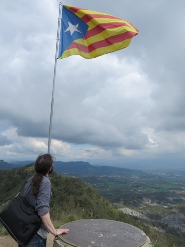Jonathan Jarrett atop the Castell de Gurb observing the Catalan flag