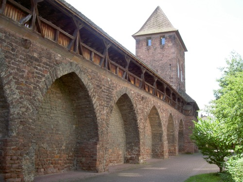 Interior view of the restored Romanesque city walls at Worms
