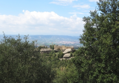The Castell de Taradell seen from along the Serra