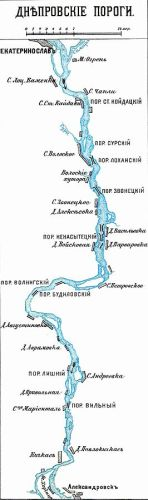 Map of the rapids down the Dnieper river constructed more or less from the account of the De Administrando Imperio