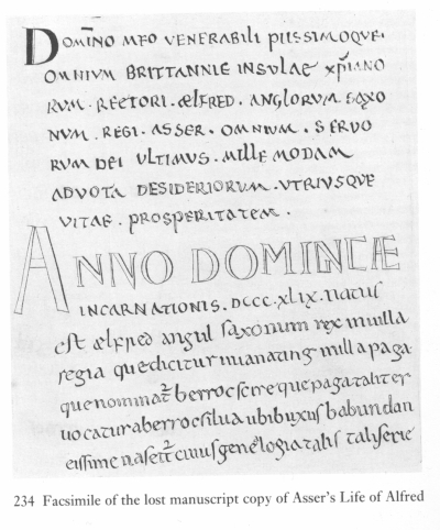 Facsimile of the opening page of the lost manuscript of Asser's Life of King Alfred by Francis Wise, 1722