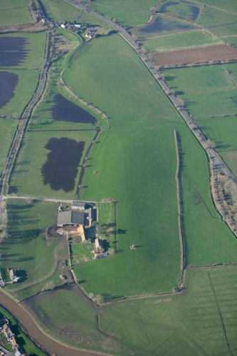 Aerial view of the site of Athelney Abbey