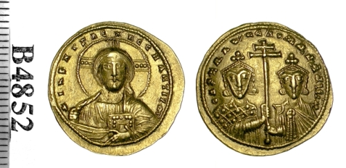 Gold solidus of Emperor  Constantine VII with Romanus II, struck at Constantinople probably between 945 and 959, Barber Institute of Fine Arts B4852