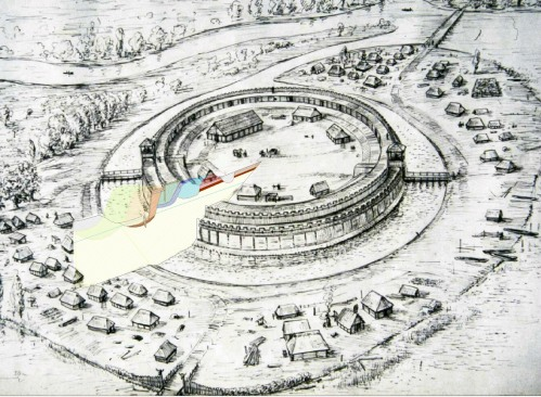 Reconstruction drawing of the Slavic fortress at Brandenburg