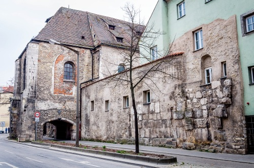 Roman walls built into later structures at Regensburg, Germany