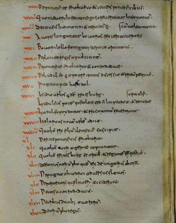 Monte Cassino, Museo storico, Codex Casinensis 298, showing a contents page from Widukind of Corvey's Sachsengeschichte
